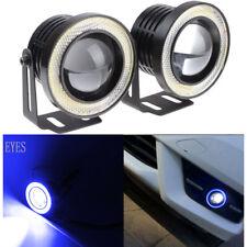 "3.5"" COB LED Fog Light Projector Lamp + Blue Halo Angle Eyes Ring Bulb DRL"