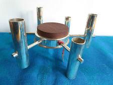 Sputnik Kerzenständer_Chrom & Teak_60er Jahre_atomic design_Kerzenhalter