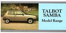 Talbot Samba 1984-85 UK Market Foldout Sales Brochure Cabriolet LS LE