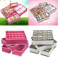 H3E# New Set 4 Pcs Foldable Organizer Storage Box For Bra Ties Underwear Socks