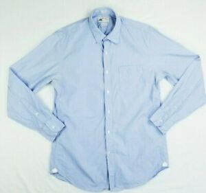 J Crew Sz Medium (15-15.5) Thomas Mason 2-Ply Yarn Blue Long Sleeve Men's Shirt