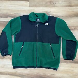 The North Face Black Denali Fleece Jacket Boys Youth XL Green Polartec Full Zip