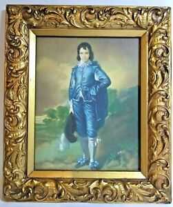 Thomas Gainsborough The Blue Boy Print in Ornate Gold Painted Wood Frame