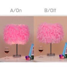 Feather Shade Table Lamp Metal Vintage Elegant Bedside Desk Night Light Decor Pink