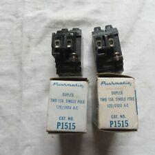 Lot of 2 - 15 Amp Pushmatic Ite Siemens P1515 Duplex Nos