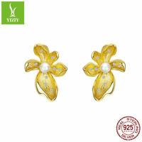 Authentic 925 Sterling Silver Earrings Gold Plated Flower Ear Stud Pearl Women