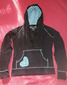 Delia's Black Pullover Sweater W/ Blue & White Checkered Heart and Hood Size XS