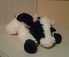 "12"" Aurora Plush Black & White Cow ""May Bell"" Flopsie Farm Stuffed Animal Toy"