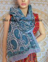 Indian Hand Block Flower Print Cotton Crinkle Scarf Shawl Wrap Scarf Shawl Wrap