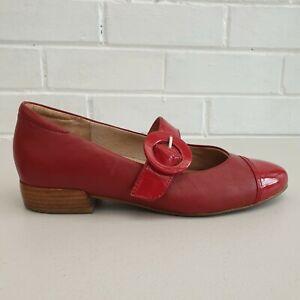 Kumfs Womens Red Strap Leather Flat Cap Toe Size 38W SE188