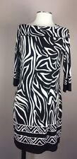 EN FOCUS Animal Print Black Brown White Sheath Dress Long Sleeve S M 4 6 8