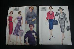 LOT of 2 Vintage 1960s VOGUE COUTURIER Dress Patterns #192, 196 CUT 16/36/38