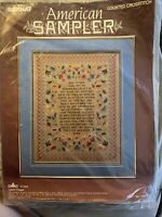Bernat WELCOME QUILT From 1988 14 Count Cross Stitch Kit DMC Floss American Sampler