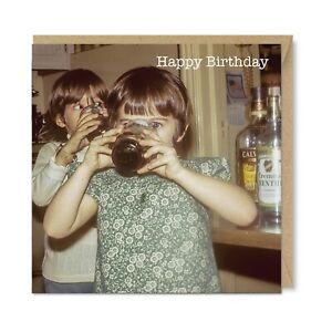 Unique Vintage Retro Funny Birthday Card, Drinking Girls 1960s Nostalgia Booze