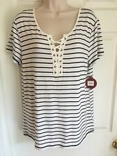 New Women's Large So Lace-Up Short Sleeve Top Striped White Black NWT