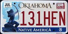 "OKLAHOMA "" NATIVE AMERICA - INDIAN - 131 HEN "" 2012 OK Graphic License Plate"