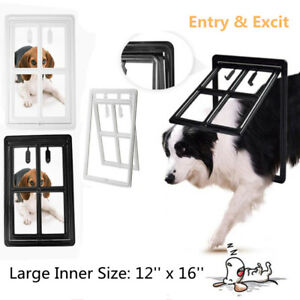 "2-Way Cat Dog Safe Flap Door Pet Gate Way Frame 12""x16"" For Screen Glass Window"