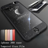 For iPhone 8 7 6s 7 Plus Ultra Thin 360 Full Body Hard Case Cover Tempered Glass