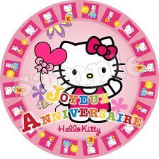 Hello Kitty Chat Decoration Gateau Disque Azyme Comestible Anniversaire 20 cm