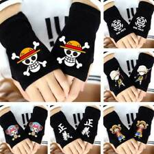 Anime One Piece Strawhat Pirates Skull Luffy Law Ace Fingerless Gloves Mittens