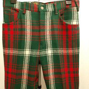 """Vintage Chaps Pants Tartan Plaid Jean Style Wool size 36"""" x 33' Green Red White"""