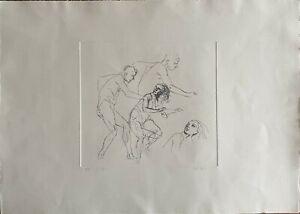 Alberto Sughi acquaforte incisione La Fuga 70x50 firmata numerata pubblicata '74