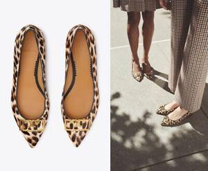 NIB Tory Burch Gigi Leopard Calf Hair Pointy Toe Flat, Size 9.5 $328