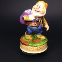 "Vintage Schmid ""Happy"" Rotating Music Box Figurine Walt Disney Productions"