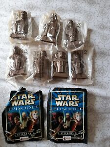 Kelloggs Star Wars Episode 1 Figures/Busts x 7 Cereal Toys 2x packs of stickers