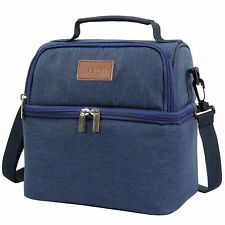 Lifewit Insulated Lunch Bag Thermal Bento Box Picnic Bag Dual Compartment Blue