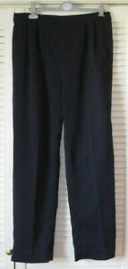 """TROUSERS, WAIST 34"""" BACK ELASTICATED, NAVY, GLITTERY DESIGN, PLEATED FRONT, VGC"""