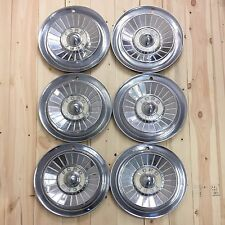 "Vintage Ford Hubcaps 1957 Thunderbird 14"" Set 6 Qty Wheel Cover Chrome Cream"