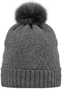 NEW BARTS ADULT BEANIE AMARANTH HAT DARK HEATHER KNIT POM LADY WOMEN'S