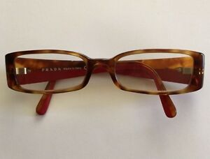 PRADA Womens Rectangular Eyeglasses Frames VPR 160 Brown/Red 135 Italy