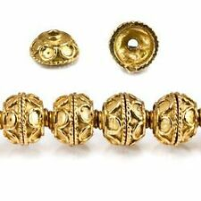 8mm 22kt Gold Plated Copper Bead Cap Petite Plain Persian 8 inch 54 pieces