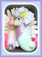 ❤️My Little Pony MLP G1 Vtg BABY SEA PONY Splasher Aqua Blue Purple Seahorse❤️