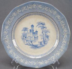 """Rare Furnival Palmyra Blue Transferware Pearlware 9 1/4 """" Plate Circa 1845"""
