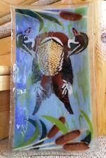 Fused Art Glass Wood Duck Plate Artist Signed Warerfowl Rectangular Platter EUC