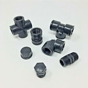 Raccorderia filettata in polipropilene nero PP - confezione da 10 pezzi