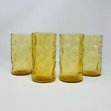 New Listing4 - Vintage Amber Thumbprint Glasses Textured Golden Beverage Glass Barware Mcm
