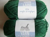 Needle Crafters acrylic yarn, Hunter Green, lot of 2 (115 yds each)