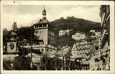 Karlsbad Karlovy Vary Ansichtskarte 1951 Městská věž a Tržní kolonáda Turm Markt