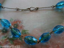 ANTIQUE VINTAGE NECKLACE OLD BLUE GLASS BEADS GOLD GILDED GILT BRASS CHAIN
