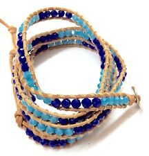 Light Brown Leather Wrap Bracelet With Dark Blue And Light Blue Color Crystal.