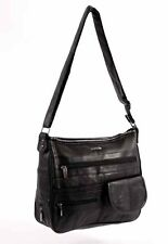LADIES NEW STYLISH SOFT SHEEP NAPPA BLACK REAL LEATHER SHOULDER BAG ORGANISER