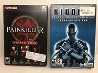 PC CD-Rom Game Bundle Lot 2 Games Painkiller & Riddick