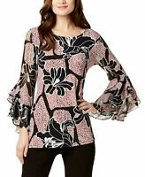 Alfani Womens Print Fluttery Sleeves Scoop Neck Top X-Large XL Pink Organic