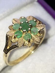 Emerald Cluster Ring, 9 Carat Gold, Hallmarked, UK Size O, 2.44 grams.