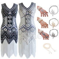 1920s Flapper Great Gatsby Vintage Dress Party Deco Beaded Sequin Fringe Dresses