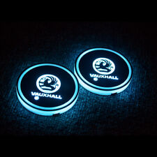 2x vauxhall LED Car Cup Holder Pad with USB Auto Interior Atmosphere Lights
